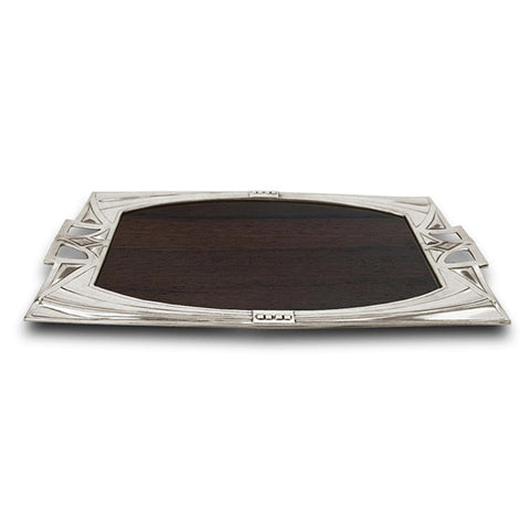 Art Nouveau-Style Secession Wood Inlay Tray - 38 cm - Handcrafted in Italy - Pewter/Britannia Metal & Cherry Wood