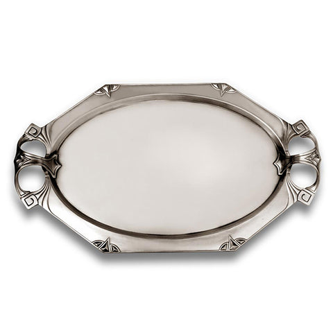 Art Nouveau-Style Secession Waiter Tray - 60 cm - Handcrafted in Italy - Pewter/Britannia Metal