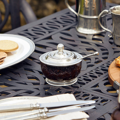 Siena Chutney/Pickle Pot (with spoon) - 11 cm Diameter - Handcrafted in Italy - Pewter & Crystal
