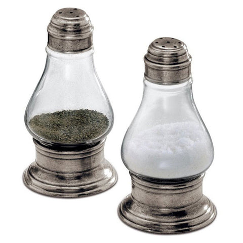 Siena Salt & Pepper Shaker Set - 12 cm Height - Handcrafted in Italy - Pewter & Glass