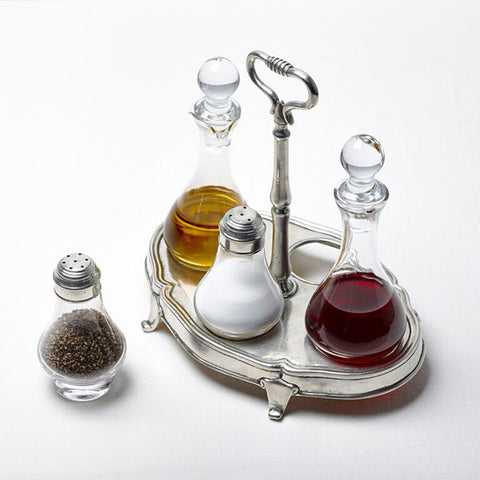 Siena Condiment Cruet Set - 24 cm Height - Handcrafted in Italy - Pewter & Glass