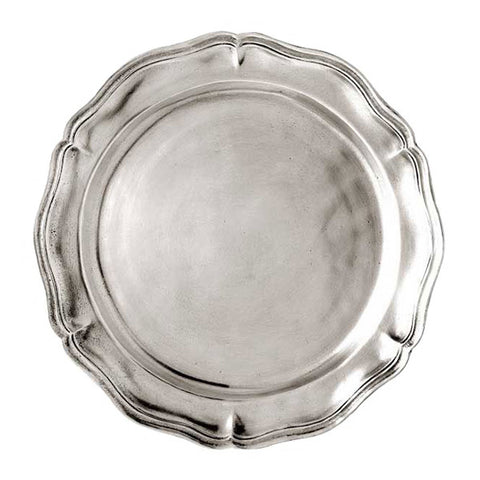 Siracusa Georgian-Style Edged Plate (Set of 2) - 23 cm Diameter - Handcrafted in Italy - Pewter