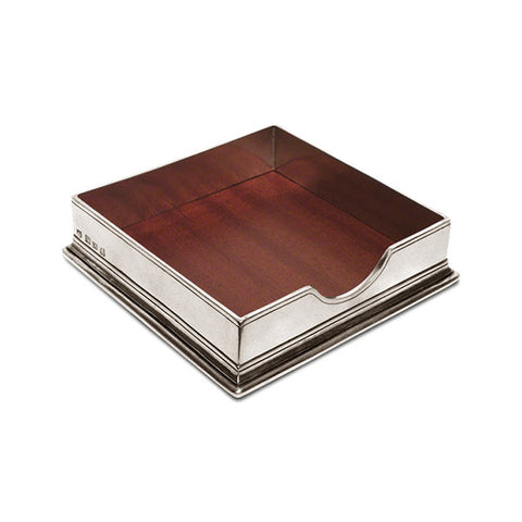 Sirmione Cocktail Napkin Box - 15.5 cm x 15.5 cm - Handcrafted in Italy - Pewter
