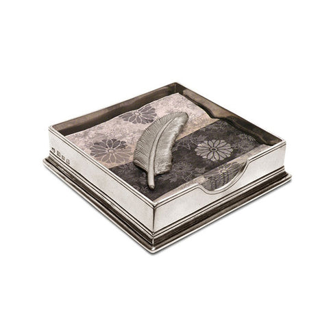 Sirmione Cocktail Napkin Box (with Feather Weight) - 15.5 cm x 15.5 cm - Handcrafted in Italy - Pewter