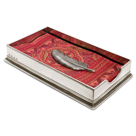 Sirmione Dinner Napkin Box (with Feather Weight) - 23.5 cm x 13.5 cm - Handcrafted in Italy - Pewter