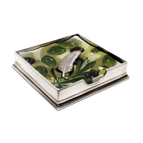 Sirmione Luncheon Napkin Box (with Feather Weight) - 19 cm x 19 cm - Handcrafted in Italy - Pewter