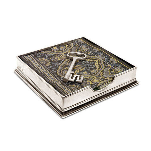 Sirmione Luncheon Napkin Box (with Key Weight) - 19 cm x 19 cm - Handcrafted in Italy - Pewter