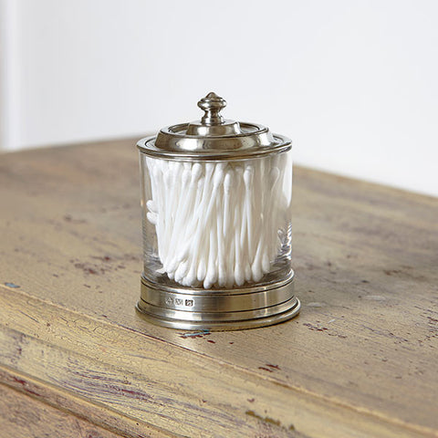 Sirmione Cotton Bud Jar - 13 cm Height - Handcrafted in Italy - Pewter & Crystal