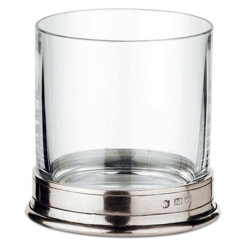 Sirmione Double Rocks Glass (Set of 2) - 42 cl - Handcrafted in Italy - Pewter & Crystal Glass