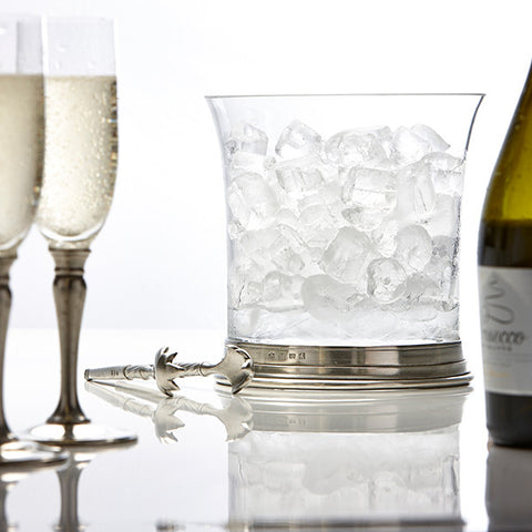 Sirmione Ice Bucket - 18.5 cm Diameter - Handcrafted in Italy - Pewter & Crystal Glass
