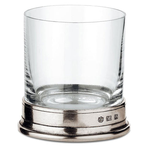 Sirmione Whisky Glass (Set of 2) - 24 cl - Handcrafted in Italy - Pewter & Crystal