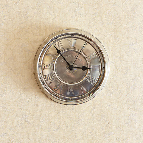 Tempus Fugit Wall Clock - 19 cm Diameter - Handcrafted in Italy - Pewter