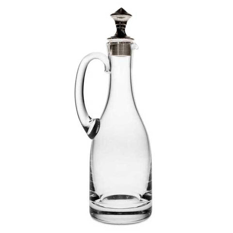 Todi Oil Cruet (Pewter stopper) - 23 cm Height - Handcrafted in Italy - Pewter & Glass