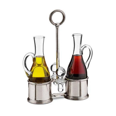 Todi Oil & Vinegar Set (Glass stoppers) - 23 cm Height - Handcrafted in Italy - Pewter & Glass