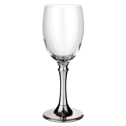 Tosca All Purpose Wine Glass (Set of 2) - 36 cl - Handcrafted in Italy - Pewter & Crystal
