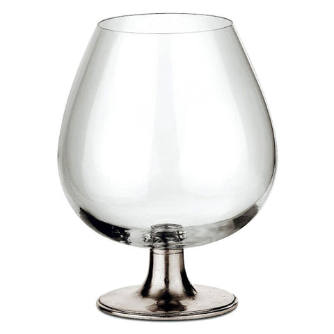 Tosca Large Brandy Snifter - 57 cl - Handcrafted in Italy - Pewter & Crystal Glass