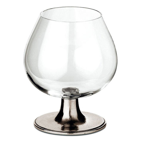 Tosca Cognac Glass - 32 cl - Handcrafted in Italy - Pewter & Crystal Glass