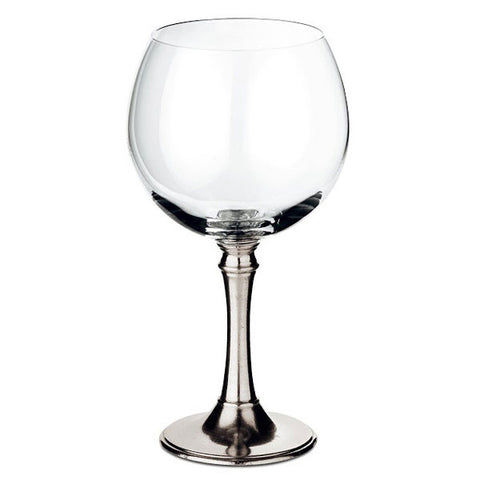 Tosca Balloon Red Wine Glass (Set of 2) - 50 cl - Handcrafted in Italy - Pewter & Crystal