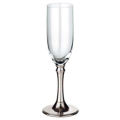 Tosca Champagne Flute (Set of 2) - 19 cl - Handcrafted in Italy - Pewter & Crystal