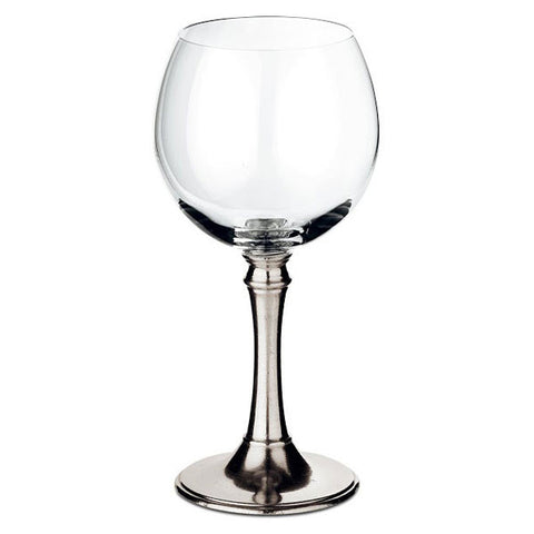 Tosca Balloon Red Wine Glass (Set of 2) - 35 cl - Handcrafted in Italy - Pewter & Crystal