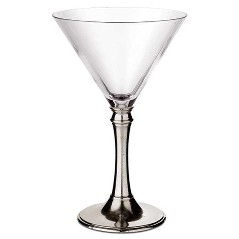 Tosca Martini Glass (Set of 2) - 21 cl - Handcrafted in Italy - Pewter & Crystal