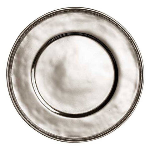 Toscana Rimmed Charger - 34 cm Diameter - Handcrafted in Italy - Pewter
