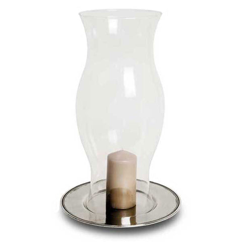 Toscana Hurricane Lamp - 50 cm Height - Handcrafted in Italy - Pewter & Glass