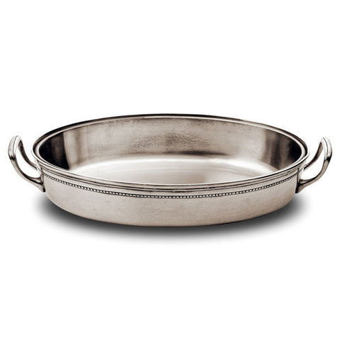 Toscana Oval Serving Dish (Pyrex insert)  - 36 cm - Handcrafted in Italy - Pewter & Pyrex
