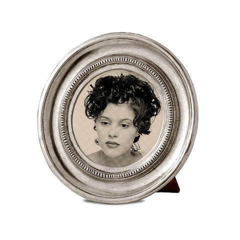 Toscana Round Frame - 10.5 cm Diameter - Handcrafted in Italy - Pewter