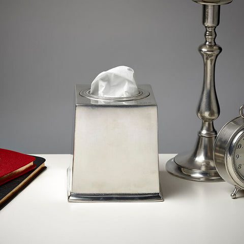 Toscana Tissue Box Cover 13.5 cm x 13.5 cm x 14 cm - Handcrafted in Italy - Pewter