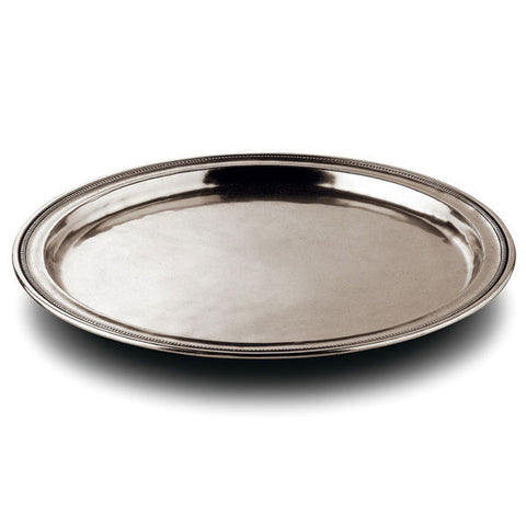 Toscana Round Tray - 35 cm Diameter - Handcrafted in Italy - Pewter