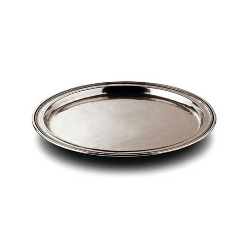 Toscana Round Tray - 28 cm Diameter - Handcrafted in Italy - Pewter