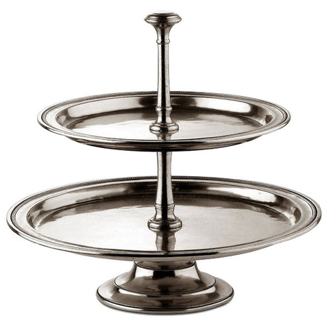 Toscana Two-Tier Cake Stand - 32 cm Height - Handcrafted in Italy - Pewter