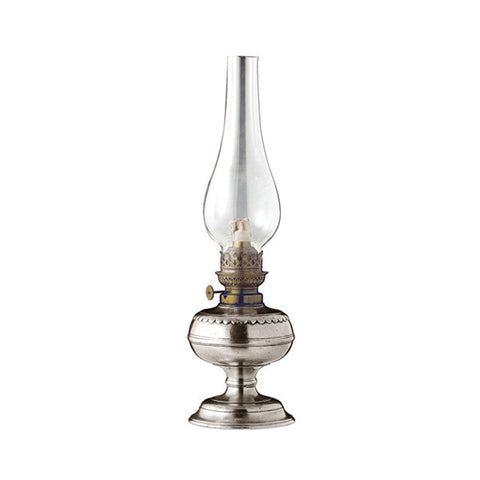 Trentino Paraffin Lamp - 34 cm Height - Handcrafted in Italy - Pewter, Brass & Glass