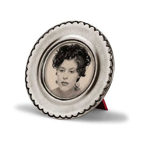 Trentino Round Frame - 11 cm Diameter - Handcrafted in Italy - Pewter