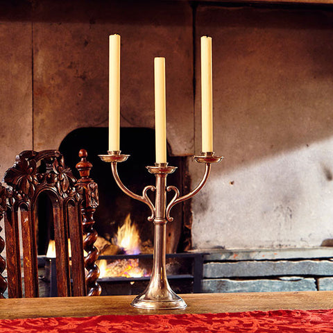 Tarquinio 3 Flame Candelabra - 34 cm Height - Handcrafted in Italy - Pewter
