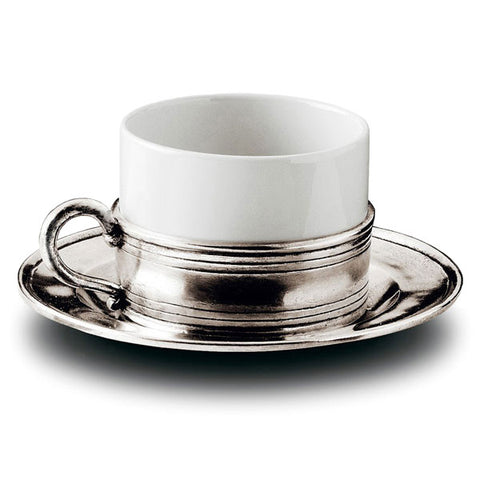 Todi Cappuccino Cup & Saucer - 20 cl - Handcrafted in Italy - Pewter & Ceramic
