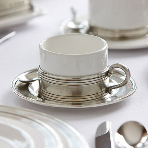 Todi Espresso Cup & Saucer - 8 cl - Handcrafted in Italy - Pewter & Ceramic
