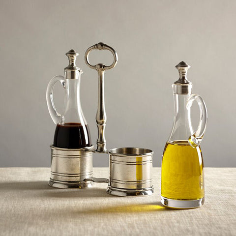 Todi Oil & Vinegar Set (Pewter stoppers) - 23 cm Height - Handcrafted in Italy - Pewter & Glass