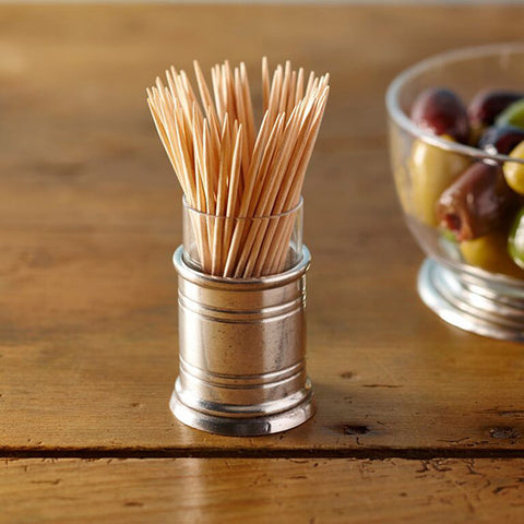 Todi Cocktail Stick Holder - 6 cm Height - Handcrafted in Italy - Pewter & Glass