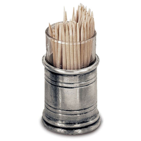 Todi Toothpick & Cocktail Stick Holder - 6 cm Height - Handcrafted in Italy - Pewter & Glass