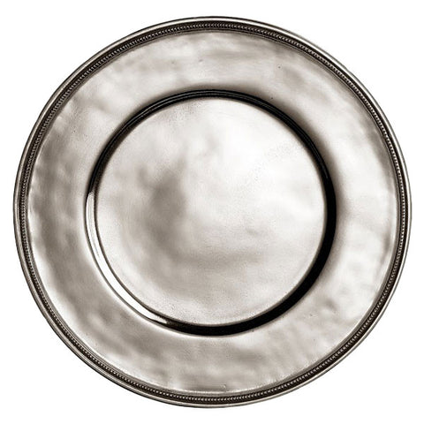 Toscana Rimmed Charger - 32 cm Diameter - Handcrafted in Italy - Pewter