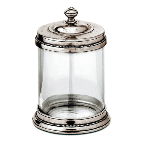 Toscana Storage Canister - 1 L - Handcrafted in Italy - Pewter & Glass
