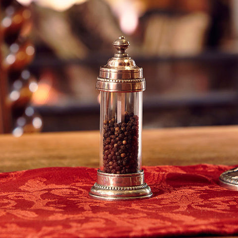 Toscana Pepper Mill - 15 cm Height - Handcrafted in Italy - Pewter & Glass