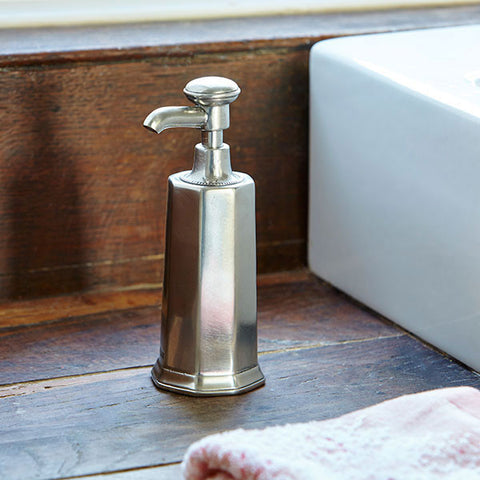 Toscana Soap Dispenser - 18.5 cm Height - Handcrafted in Italy - Pewter