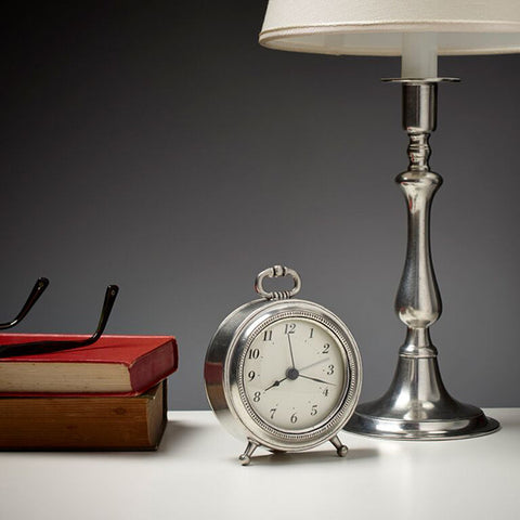 Toscana Alarm Clock - 11 cm Diameter - Handcrafted in Italy - Pewter