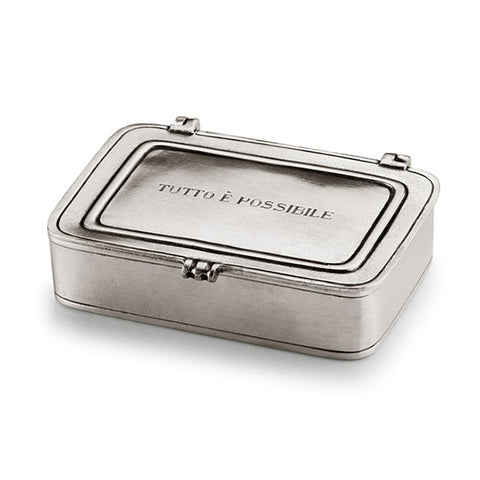 Tutto è Possibile Lidded Box - 9.5 cm x 6.5 cm - Handcrafted in Italy - Pewter