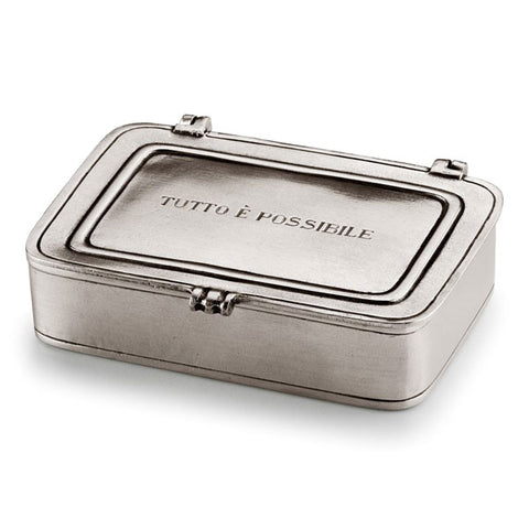 Tutto è Possibile Lidded Box - 11.5 cm x 8 cm  - Handcrafted in Italy - Pewter