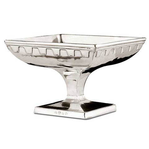 Ulisse Square Footed Bowl - 21 cm x 21 cm - Handcrafted in Italy - Pewter