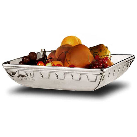Ulisse Square Bowl - 21 cm x 21 cm - Handcrafted in Italy - Pewter